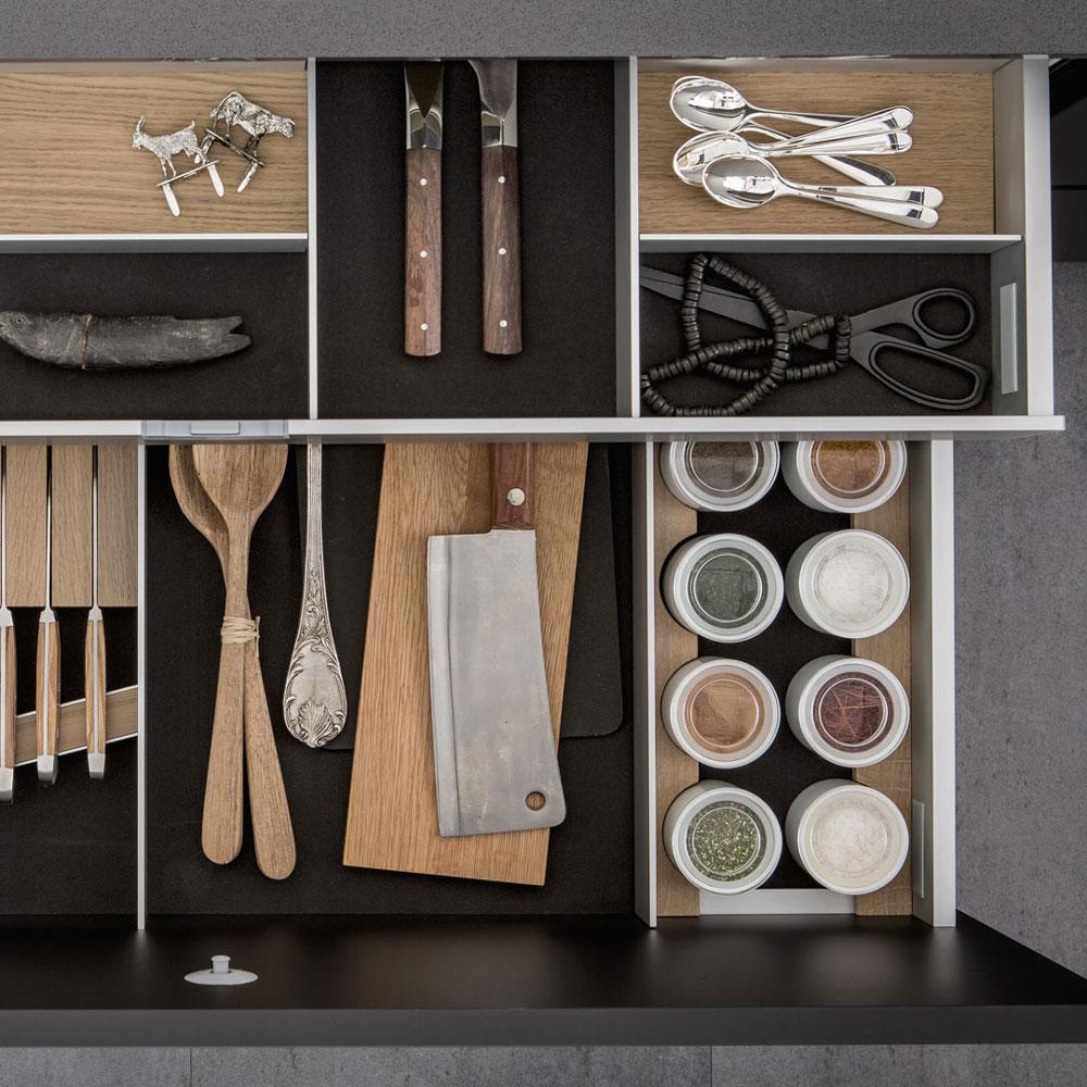 SieMatic Inside - Aménagement intérieur de tiroirs de cuisine haut de gamme en aluminium - Dotti Design, Toulouse